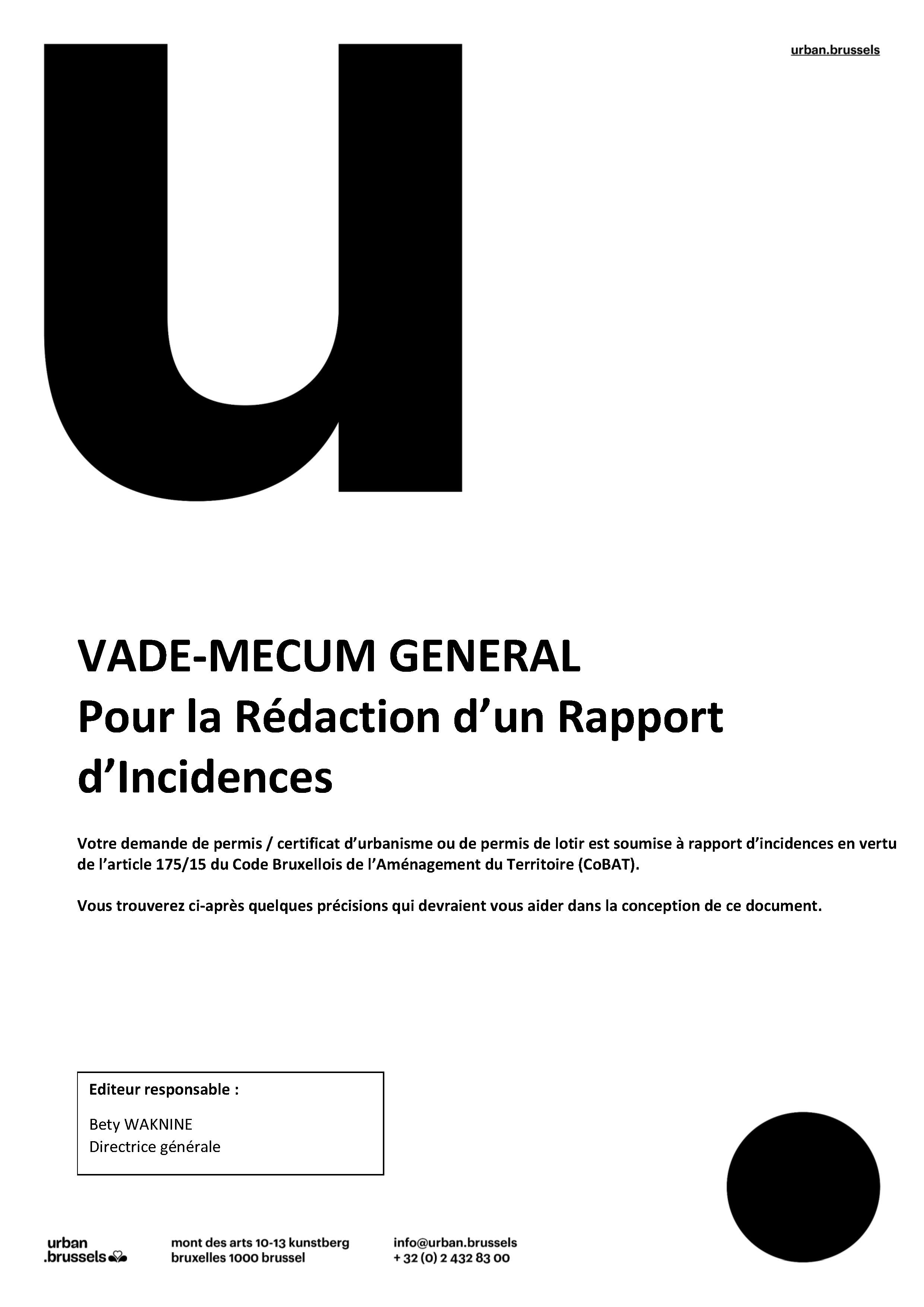 Vade-mecum pour la rédaction d'un rapport d'incidences